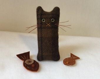Lorenzo: Brown Plaid Cat, Buddy on the Desk