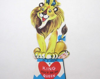 Vintage Unused Children's Novelty Valentine Greeting Card with Circus Lion in Crown and Bow on Tail