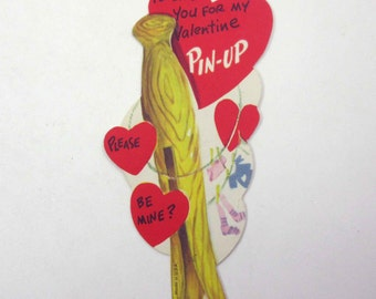 Vintage 1950s Children's Novelty Valentine Greeting Card with Wooden Clothepin