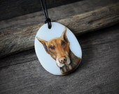 RESERVED for Mariko doberman necklace - fused glass pendant - dog jewelry- puppy- custom dog pendant