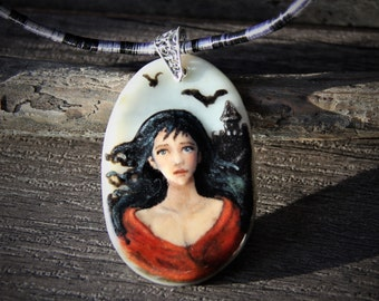 Amazing Beautiful Gypsy in the night - princess fused glass pendant -  boho necklace - castle