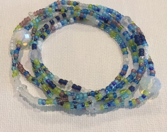 Beach Wave Stretch Wrap Bracelet, Necklace, Ocean, Sea, Stackable, Layering Accessory, Jewelry, Opal Crystal, Blue, Green, Turquoise, Boho
