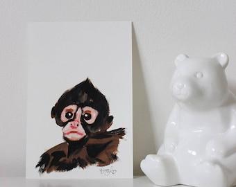 Spider Monkey Portrait, Monkey Art, Monkey Painting, Monkey Wall Art, Monkey Decor, Nursery Decor, Animal Art, Mini Painting