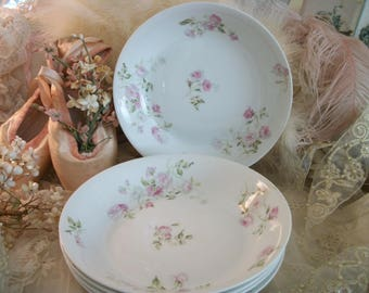 antique french china coupe soup bowls, ch field haviland, limoges, pale pink & white floral, fluffy antique roses, understated elegance