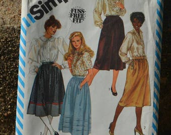 Vintage 80s Sewing Pattern Simplicity 6370 Women's Skirts