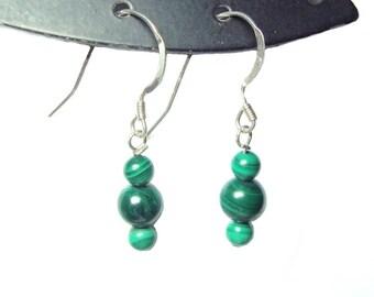 Malachite sterling silver french hook dangle earrings