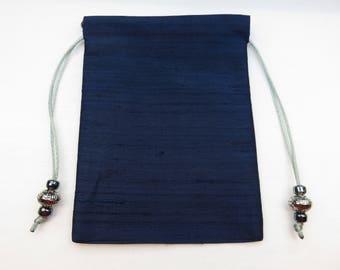 """Navy Blue Pure Silk Handmade Tarot Card Bag, Tarot Card Pouch 5x7, 5"""" x 7"""""""