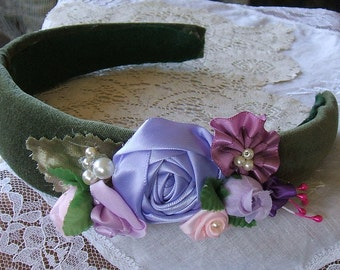 Victorian, Headband,Padded, Handmade,Flower Girl, Party Dress,Victorian Roses, Elegant,Green, Velvet,Lavender, Special Occaision,Headpiece