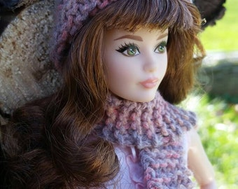 Barbie Pink and Lilac Hand Knitted Hat and Scarf Set