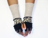 Fingerless Gloves, Armwarmers, Animal Print(Black,BrownStripe/Black/Patched Animal Print/Beige) by Brenda Abdullah