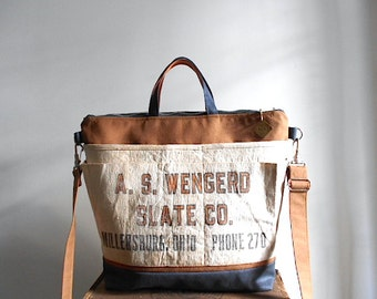 Canvas & lumber apron crossbody tote bag, carryall - A.S. Wengerd Slate Co. Millersburg, Ohio - eco vintage fabrics