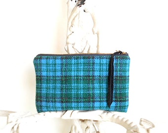 Vtg plaid wool zip utility pouch, mini clutch - forest green, turquoise - eco vintage fabrics