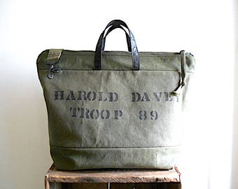RESERVED for C, Custom military canvas carryall weekender, crossbody tote bag - eco vintage fabrics