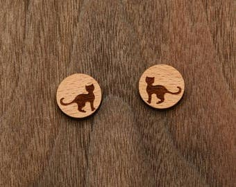8 pcs Cat Wood Charm,Carved,Engraved,Earring Supplies,Cabochons (WC 132)