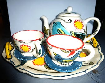 tea set teapot cups and saucers tray birds white yellow blue teapot set whimsical tea set serving tea teapot collectibles