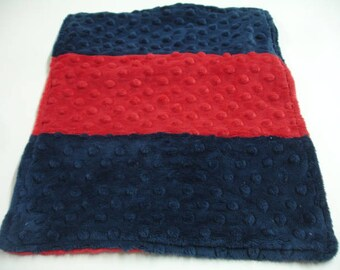 Navy and Red Double Sided Minky Burp Cloth  11 x 13 READY TO SHIP