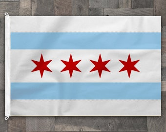 100% Cotton, Stitched Design, Flag of Chicago, Made in USA