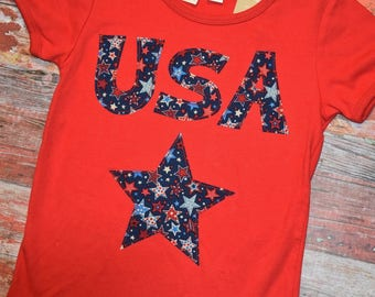 AMERICANA Girls Red USA Tee  size 12   July 4 RED WhITe & BLUe  patriotic Ready to Ship!