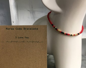 I Love You, Morse Code Stretchy Bead Bracelet - Pick your color