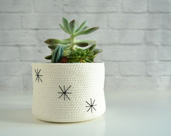 Succulent pot, Indoor planter, Nordic style, Yarn storage Bathroom basket, Plant pot Cotton pot, Natural decor Planter container Kids basket