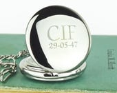 Personalized Pocket Watch, Gift For Men Silver Pocket Watch, Fathers Day Gift, Groomsmen Gifts, Best Man or Wedding Party Gifts