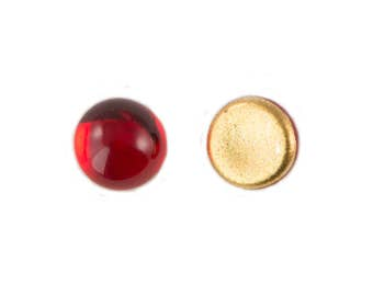 Ruby Red Glass Foiled Cabochons 5mm (12) cab2002A
