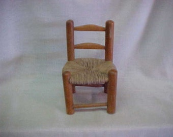 Sale in Progress~~MINIATURE VINTAGE CHAIR~~Woven Seat~~Chair is Wooden~~6 Inches Tall~~For Doll House or Childs Toy~~Cute Little Mini-Chair