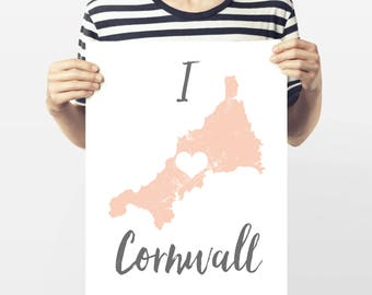 Map print 'I Love Cornwall'
