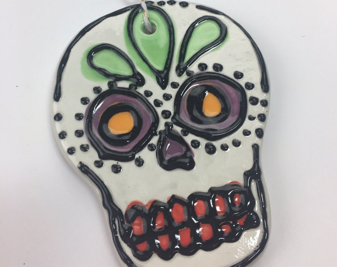 Ceramic Sugar Skull Ornament GREEN