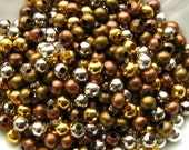 Assorted Spacer Beads 4mm - 350 Pieces - Five Colors, Gold Silver Bronze Copper Glossy Round (GBD0015)