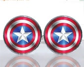 SALE - Round Glass Tile Cuff Links - Captain America Shield CIR150