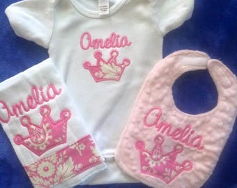 Custom Onesie,  Infant Bib and Burpie Set
