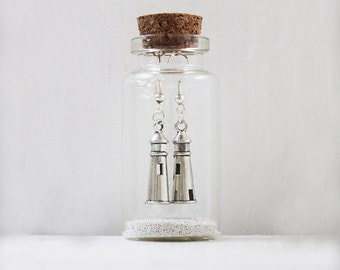 Lighthouse Earrings In A Little Bottle