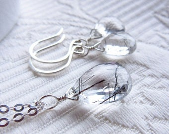 FACEBOOK SALE 40% OFF Sparse black tourmalinated quartz sterling silver necklace and/or earring briolettes (limited)