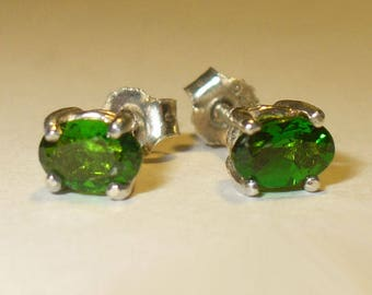 Natural Chrome Diopside Stud Earrings -  Brilliant Green, Genuine Untreated Mined from Earth Gemstones in Solid Sterling Silver