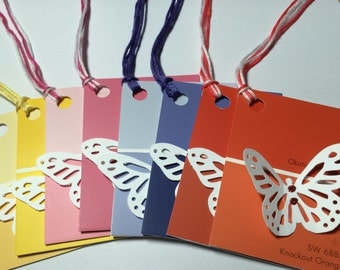 Butterfly Gift Tags Set of Eight Paint Chip Sample Lunchbox Love Notes Glitter Glue Friendship Wings Fly Colorful Recycled Upcycled