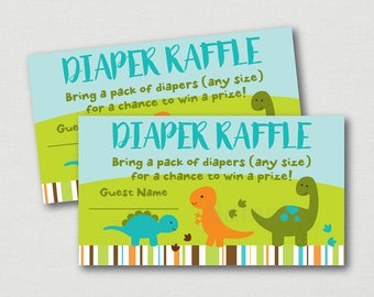 Dinosaur Diaper Raffle Tickets / Dinosaur Baby Shower / Baby Shower Raffle Tickets / Baby Boy Shower / Printable INSTANT DOWNLOAD A173