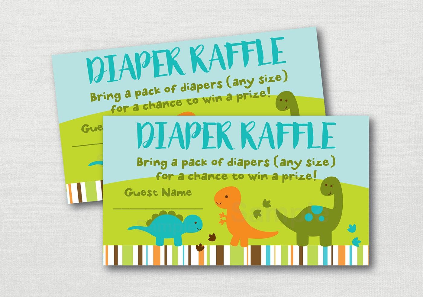 dinosaur diaper raffle tickets    dinosaur baby shower    baby