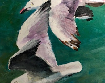 Acrylic Painting 6x6 Seagulls Birds of a Feather Small Format Original