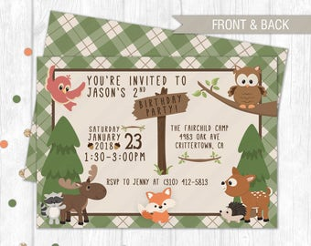 Woodland Forest Friends Birthday Party Invitation - Camp Fox Plaid Flannel Children's Kid's Invite Theme | Moose, Owl, Deer, Hedgehog 0019
