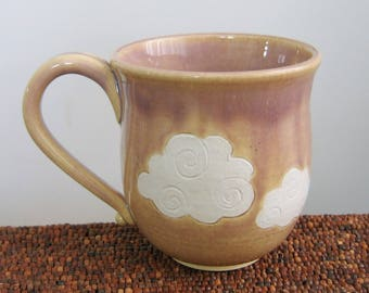 Cloud Mug in Orchid Purple, Large Pottery Coffee Mug with Fluffy Clouds 16 oz. , Hand Thrown Stoneware Ceramic Cup, Handmade