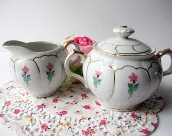 Vintage Cream and Sugar Set Pink Green Floral  - Tea Parties
