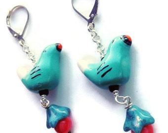 Sweet Little Turquoise Bird Earrings Sterling Silver