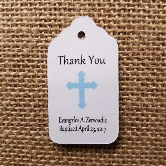 """Baptism Thank You Choose your quantity SMALL 2"""" Favor Tag"""
