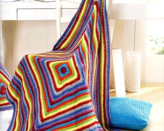 Custom Crocheted Colorful Squares Afghan Gift Present Christmas Birthday Mothers Day Wedding Graduation Made to Order 6-8 weeks Delivery