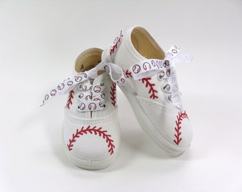 Baseball Sneakers, Sports Theme Hand Painted White Canvas Shoes Size Three or Four for Baby or Toddler