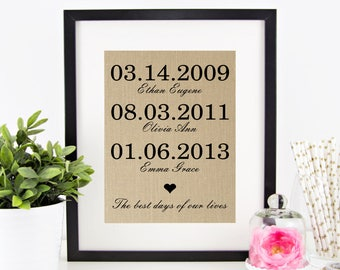 The Best Days of Our Lives Burlap Print   Mother's Day Gift Idea   Birthday Gift for Mom   Personalized Family Children Birth Dates Sign