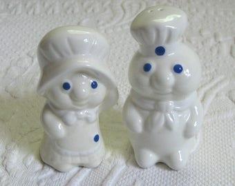 Salt and Pepper Shakers . pillsbury doughboy Salt and Pepper . 1988 Poppin' Fresh (the Doughboy) & Poppie Fresh Salt and Pepper Shaker