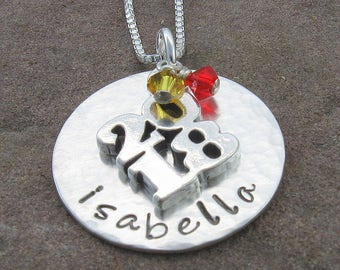 2018 Pendant,Sterling Silver Personalized with Any Name, 2018 Charm and Swarovski School Colors