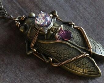 Steampunk Jewelry, Cicada Pendant with Amethyst Purple Harlequin glass